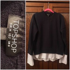 TopShop 2 in one sweater - french cuff shirt